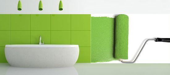 faianta vopsita in verde cu vopsea pentru faianta cu un trafalet